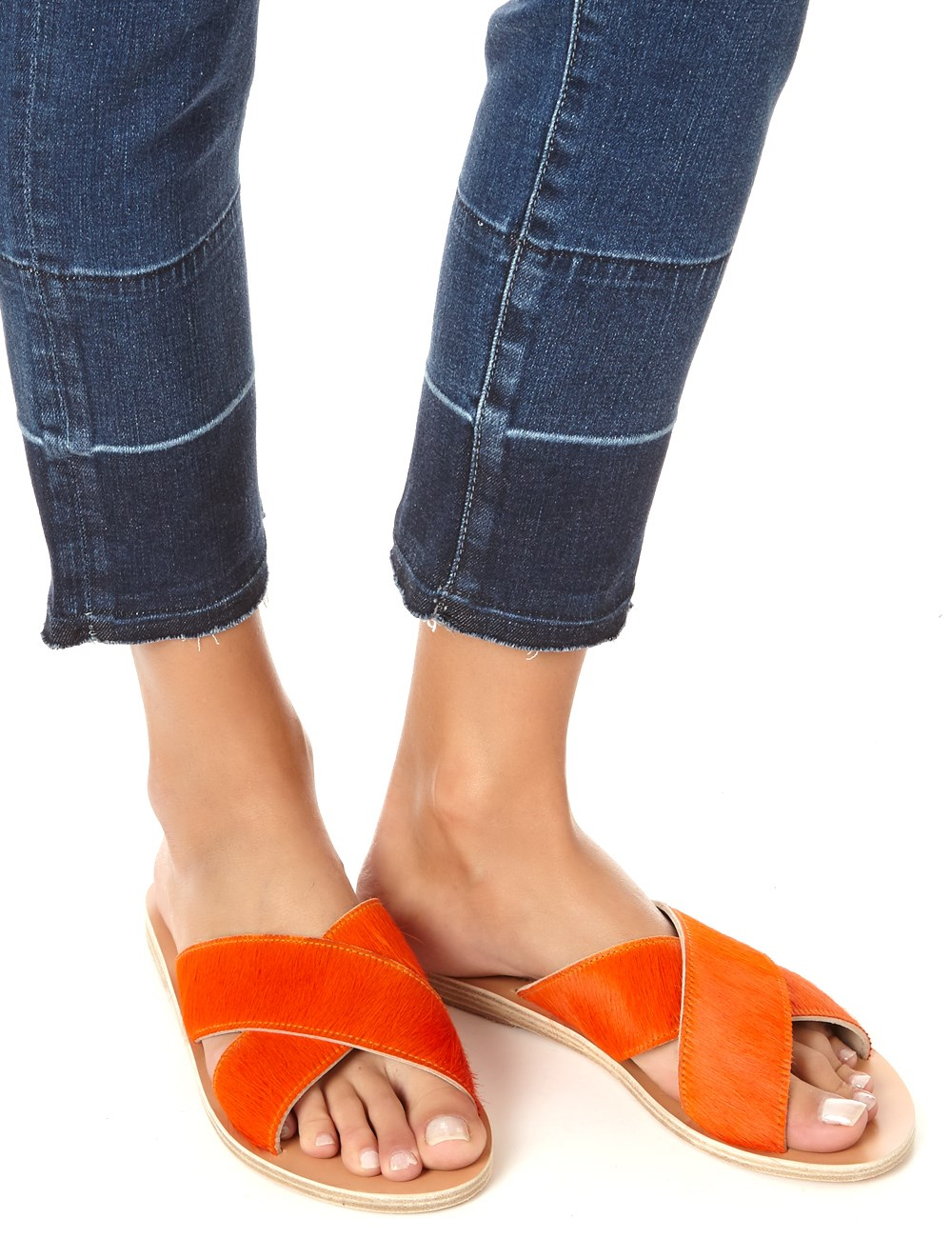 Ancient Greek Sandals Orange Pony Hair Thais Sliders In