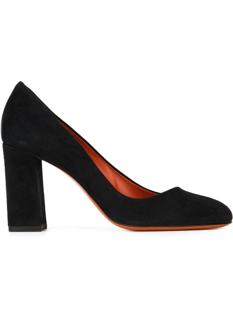 Santoni Chunky Heel Pumps in Black | Lyst