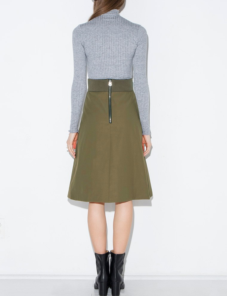pixie market olive pocket midi skirt in green olive
