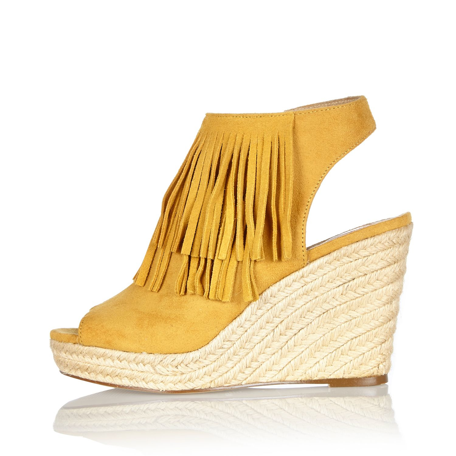 41680a866c53 Lyst - River Island Yellow Fringed Slingback Wedges in Yellow