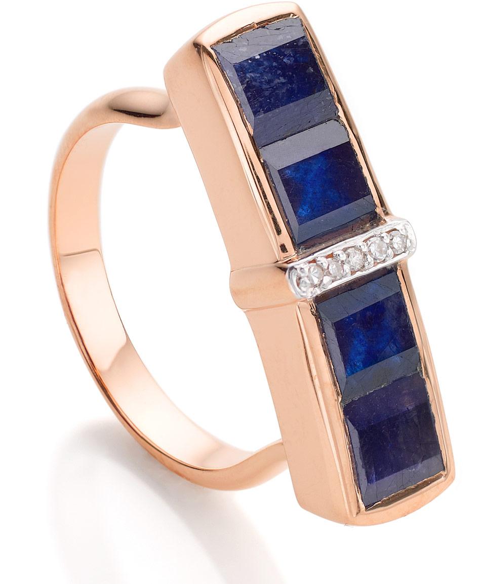 Lyst - Monica Vinader Rose Gold Vermeil Blue Sapphire ...
