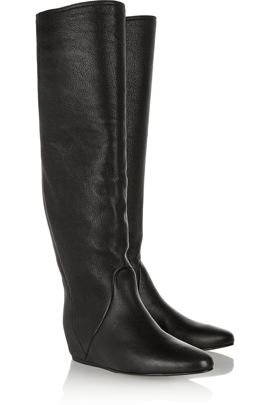 90ed9a4e3da Lyst - Lanvin Textured-leather Wedge Knee Boots in Black
