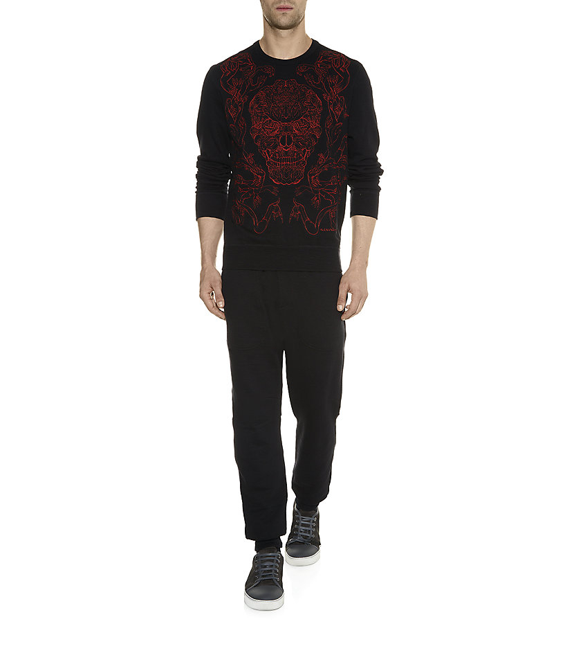 alexander mcqueen embroidered skull sweatshirt in red for men lyst. Black Bedroom Furniture Sets. Home Design Ideas