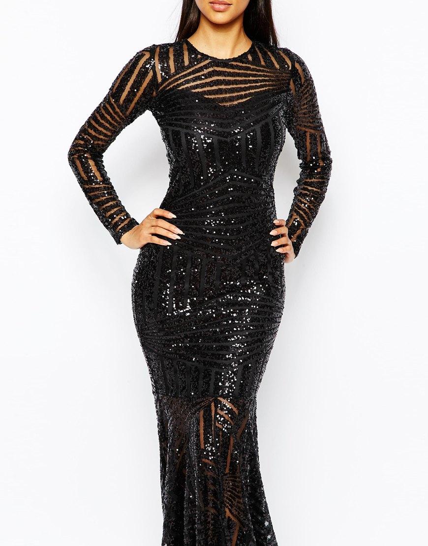 Lyst Club L All Over Sequin Fishtail Maxi Dress In Black