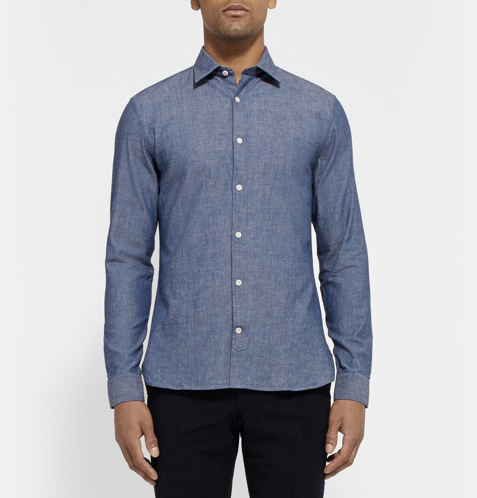 Lyst hardy amies cotton chambray shirt in blue for men for Chambray 7 s