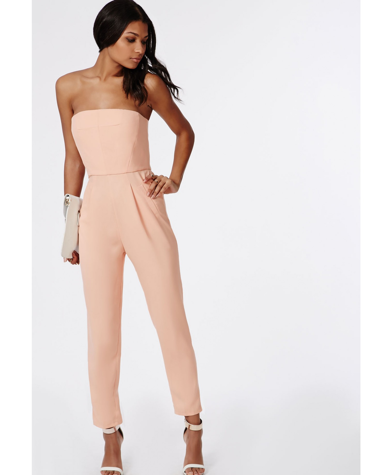 Missguided Tailored Bandeau Jumpsuit Blush in Pink | Lyst