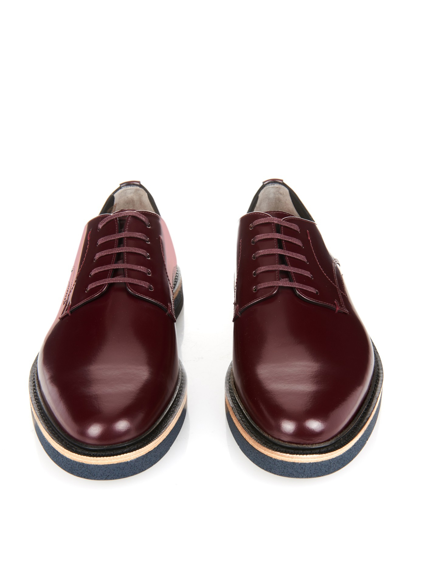 Fendi Lace Up Leather Derby Shoes In Purple For Men Lyst