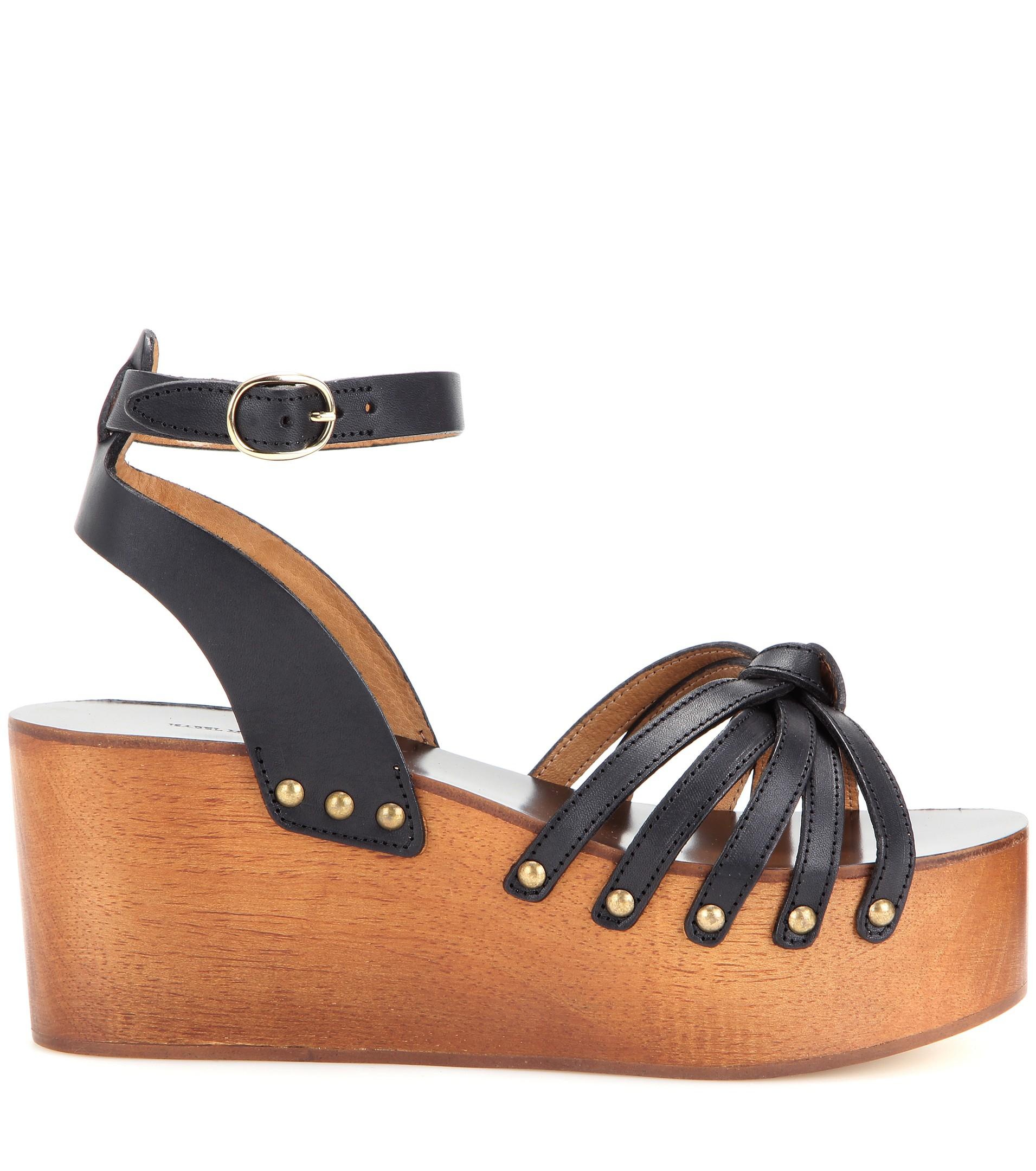 b5ad0fe44c1 Isabel Marant Étoile Zia Leather Platform Sandals in Black - Lyst