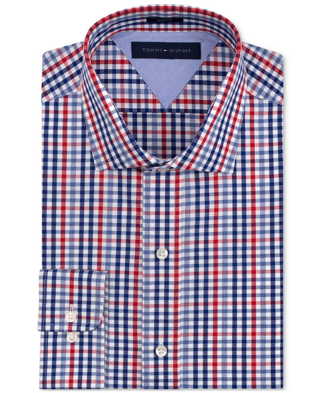 Lyst tommy hilfiger slim fit red and blue check dress for Blue check dress shirt
