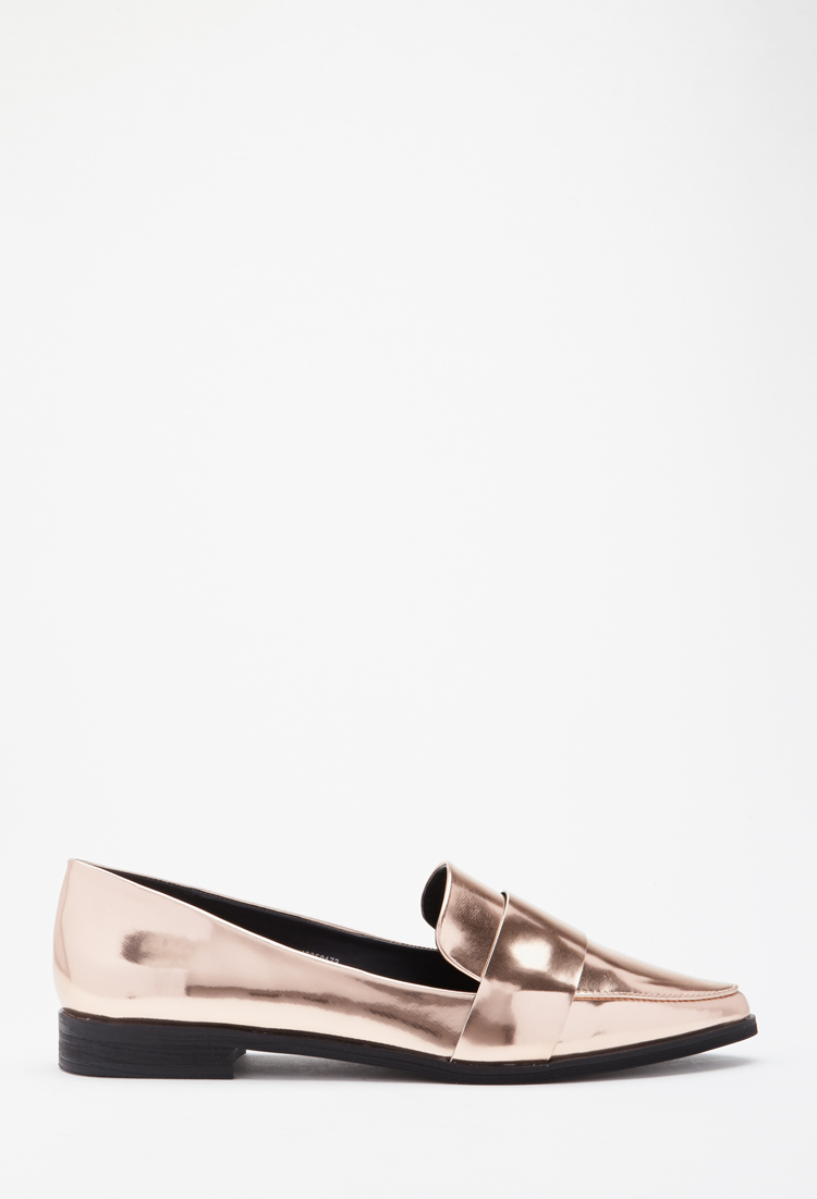 9a7ab59179ee Lyst - Forever 21 Faux Leather Pointed Loafers in Pink