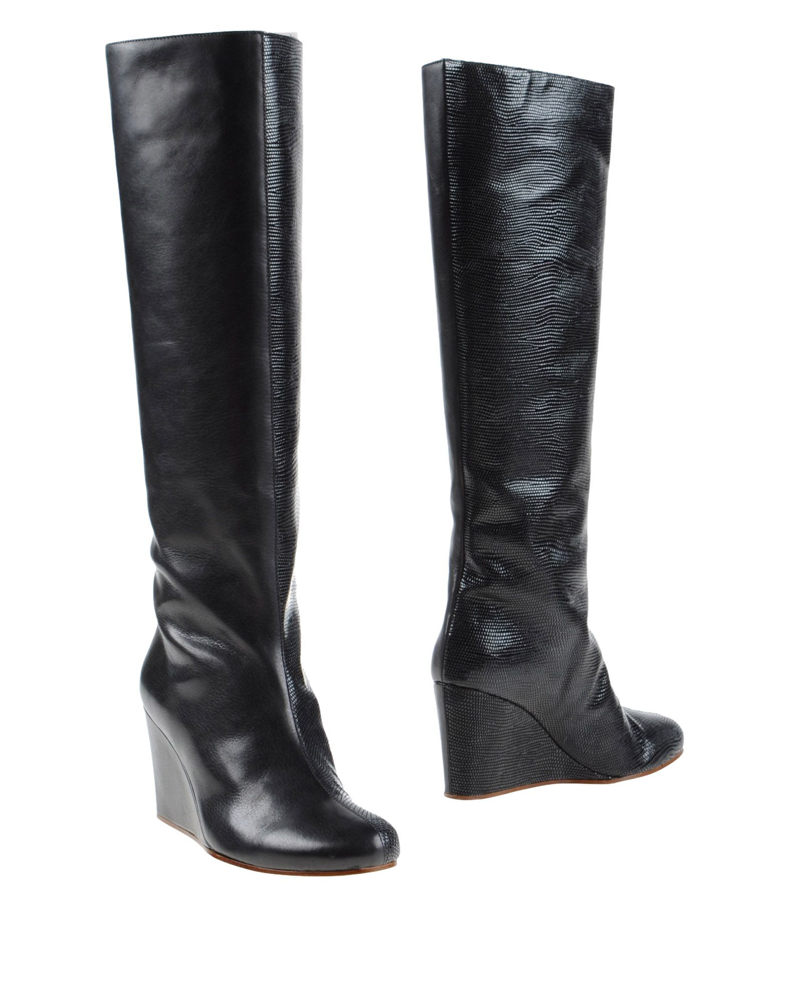 mm6 by maison martin margiela leather knee high boots in