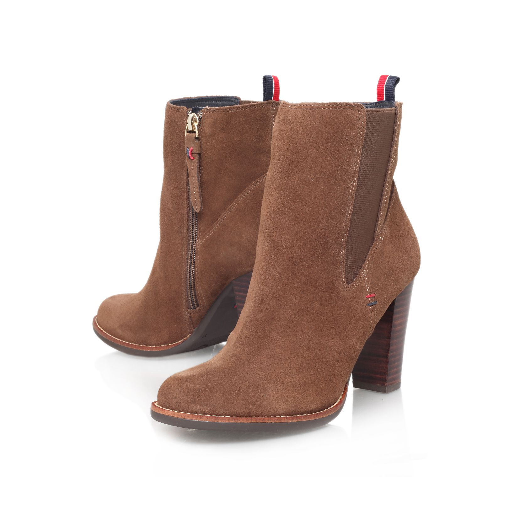 lyst tommy hilfiger nicole high heeled ankle boot in brown. Black Bedroom Furniture Sets. Home Design Ideas