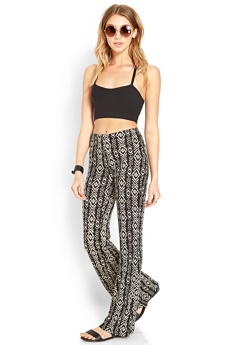 Lyst Forever 21 Print Bell Bottoms In Black