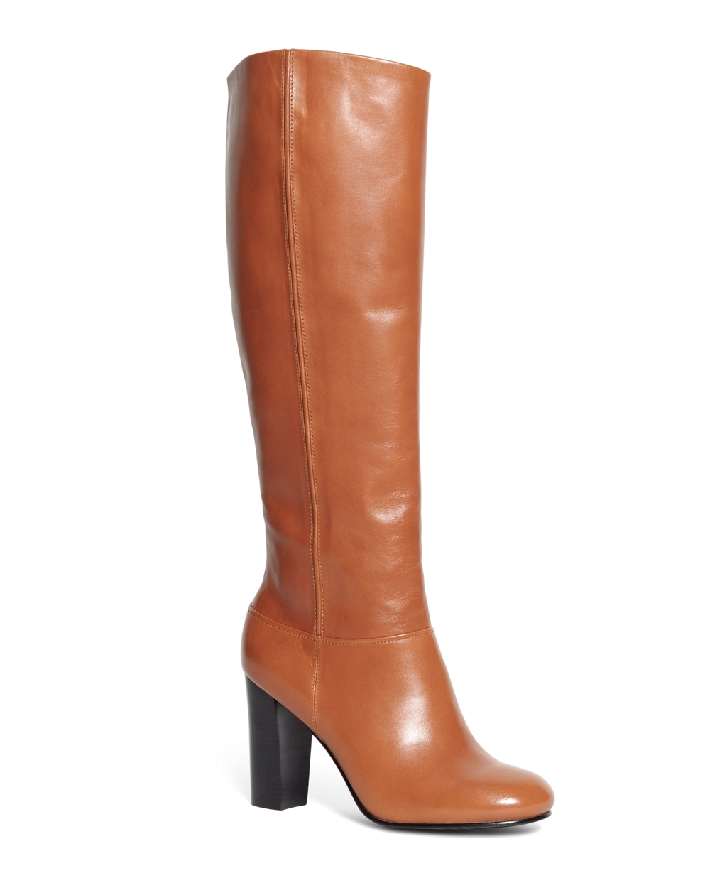 brothers leather stacked heel boots in brown