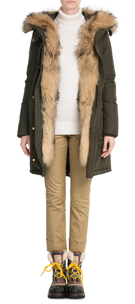 lyst woolrich military eskimo down parka with fur trimmed hood green in brown. Black Bedroom Furniture Sets. Home Design Ideas