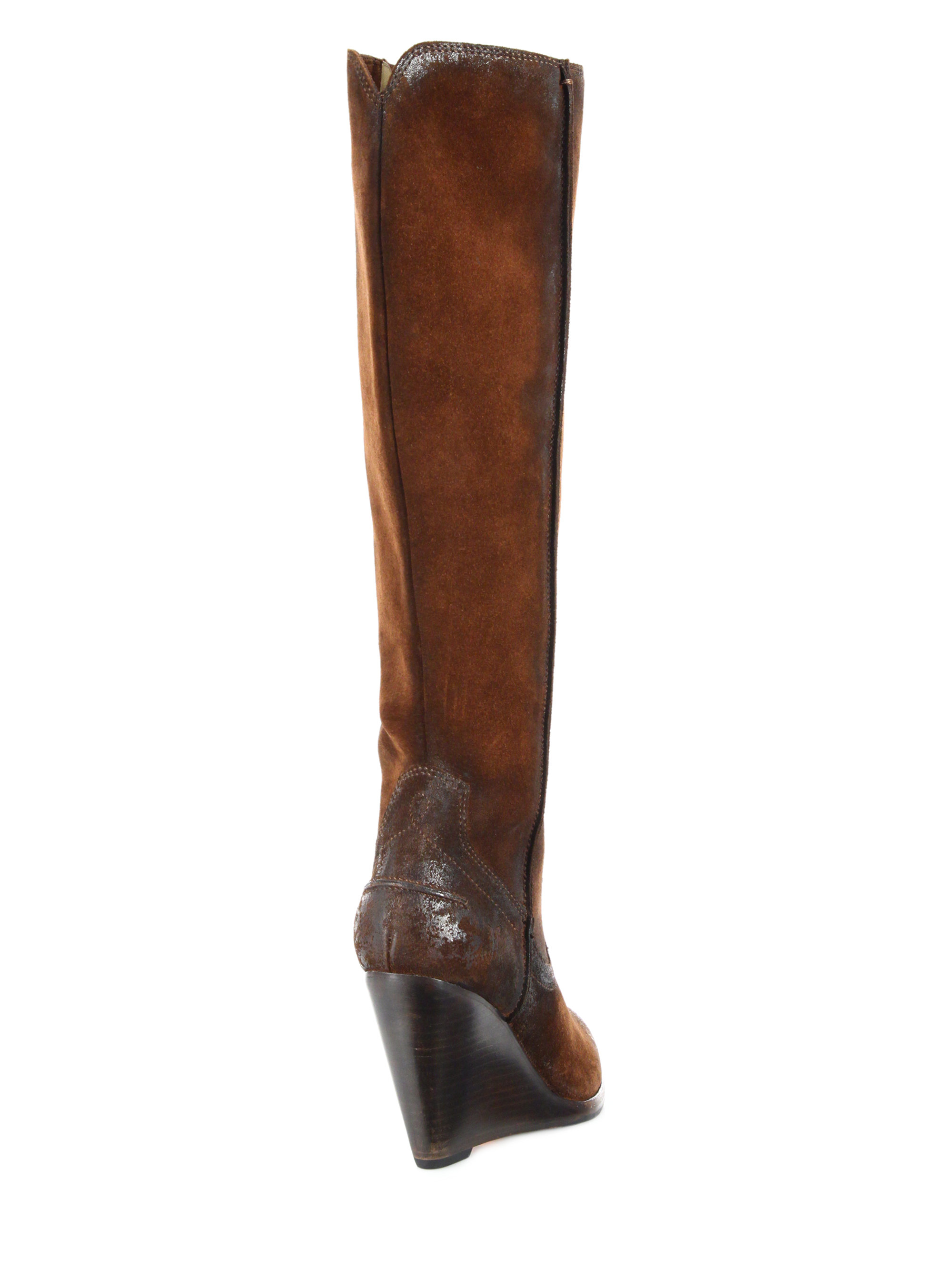 d45f5cff542 Lyst - Frye Cece Seamed Suede Wedge Boots in Brown