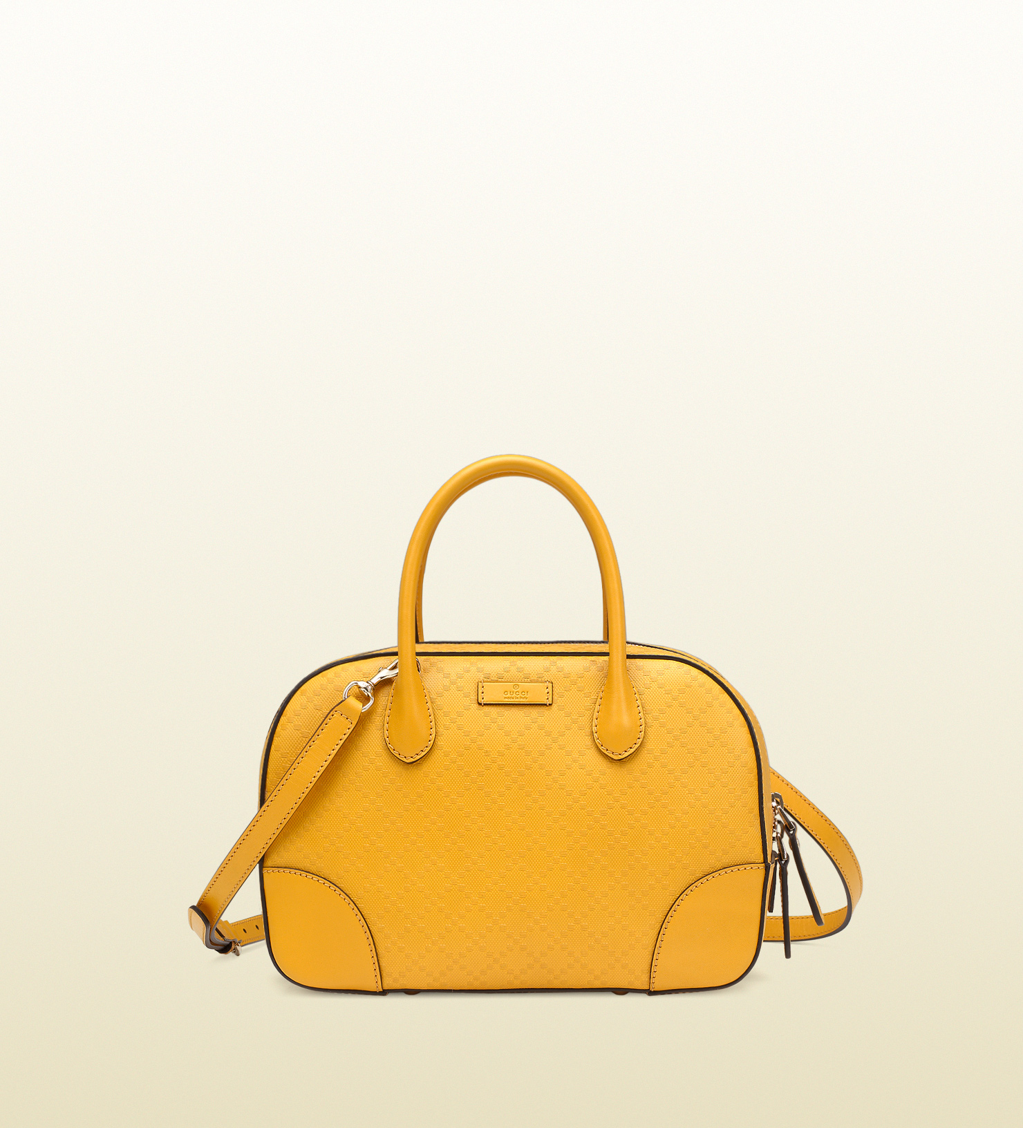 78a588c92f5 Gucci Bright Diamante Leather Top Handle Bag in Yellow - Lyst