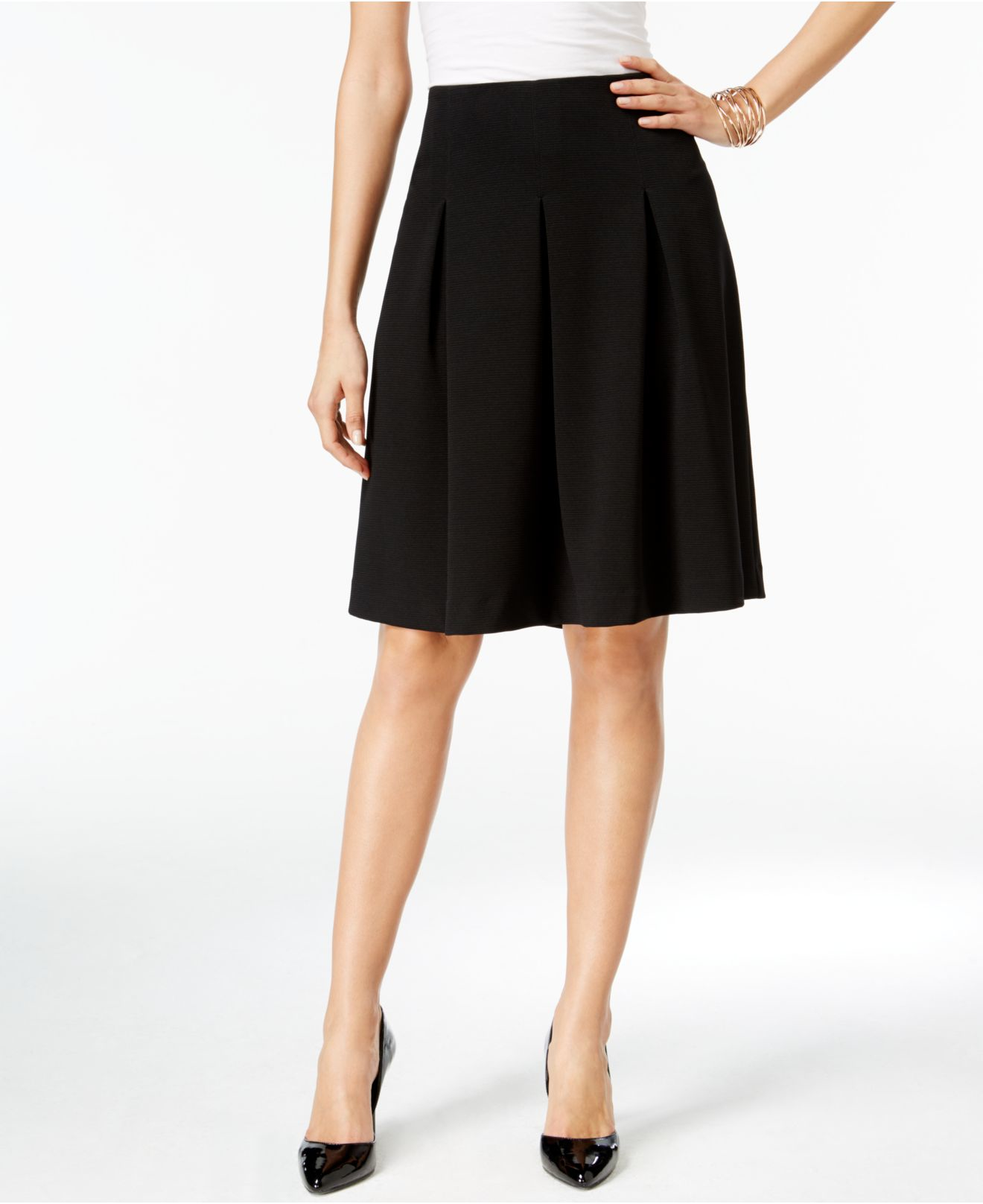 alfani pleated a line skirt only at macy s in black lyst