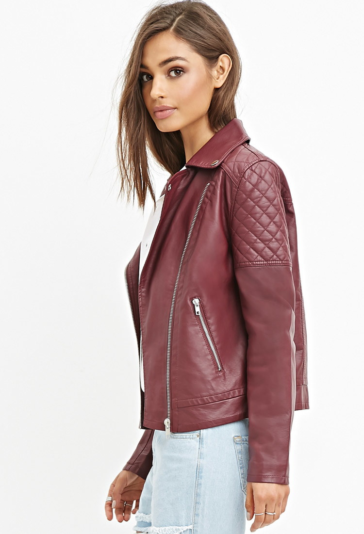 Forever 21 Quilted Faux Leather Jacket in Purple