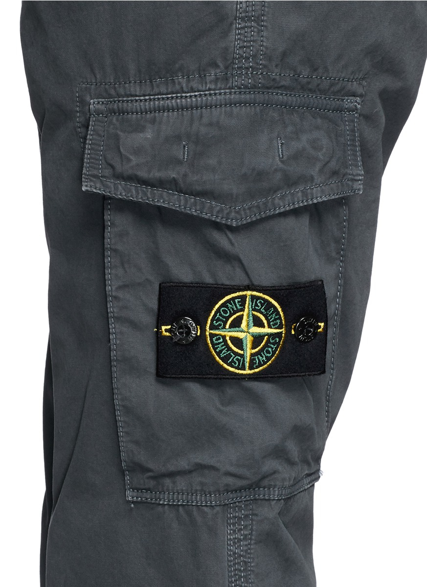 Lyst Stone Island Logo Embroidery Cotton Cargo Pants In