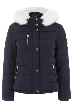 Topshop Quilted Jacket in Blue   Lyst