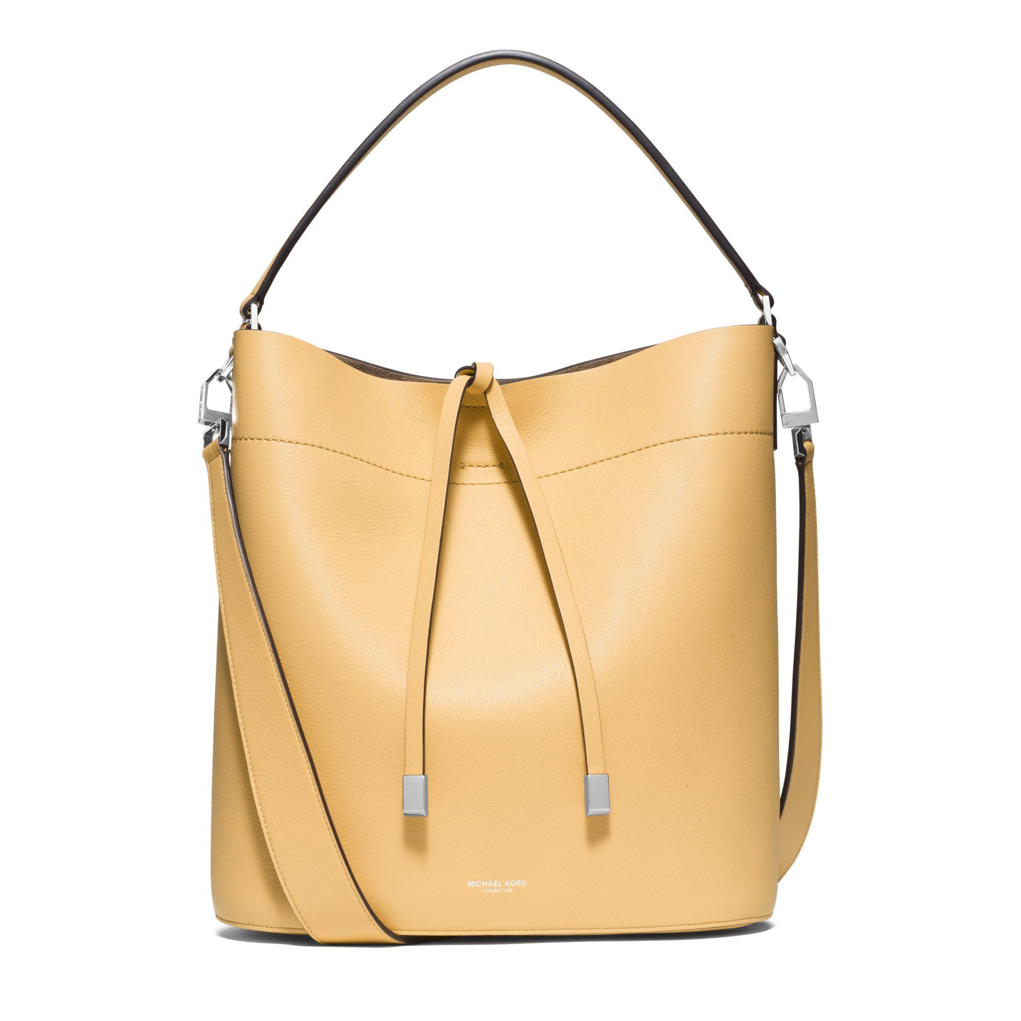 michael kors miranda large leather shoulder bag in yellow