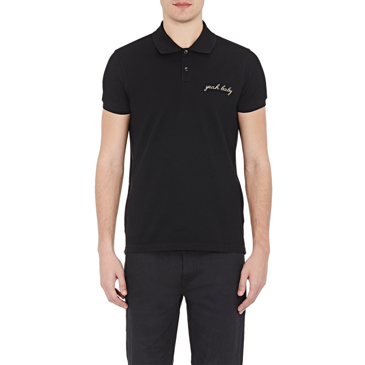lyst saint laurent men s yeah baby polo shirt in black for men