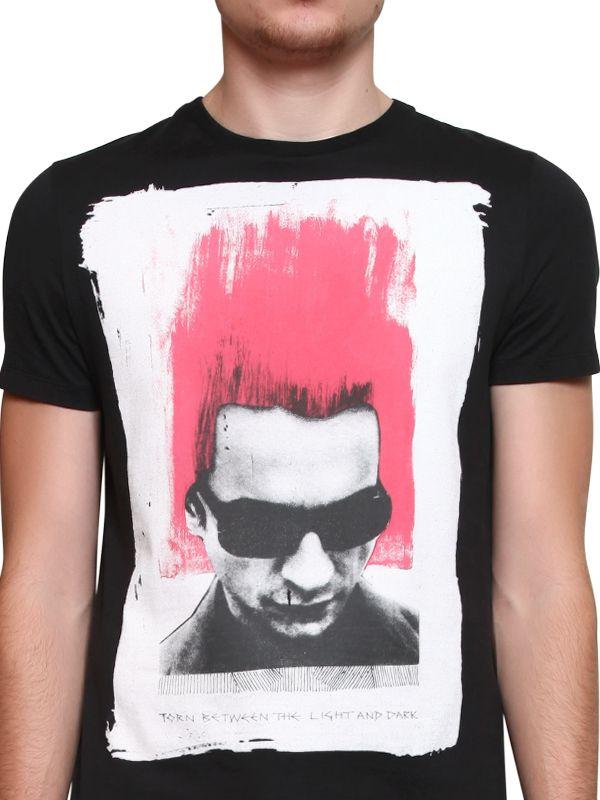 John richmond dave gahan printed cotton jersey tshirt in for T shirt printing richmond va