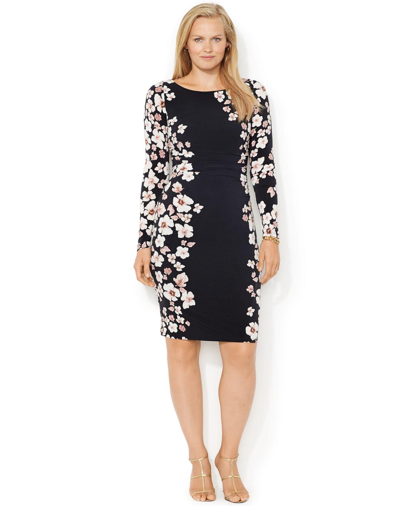 Lyst Lauren By Ralph Lauren Plus Size Long Sleeve Floral Print Dress