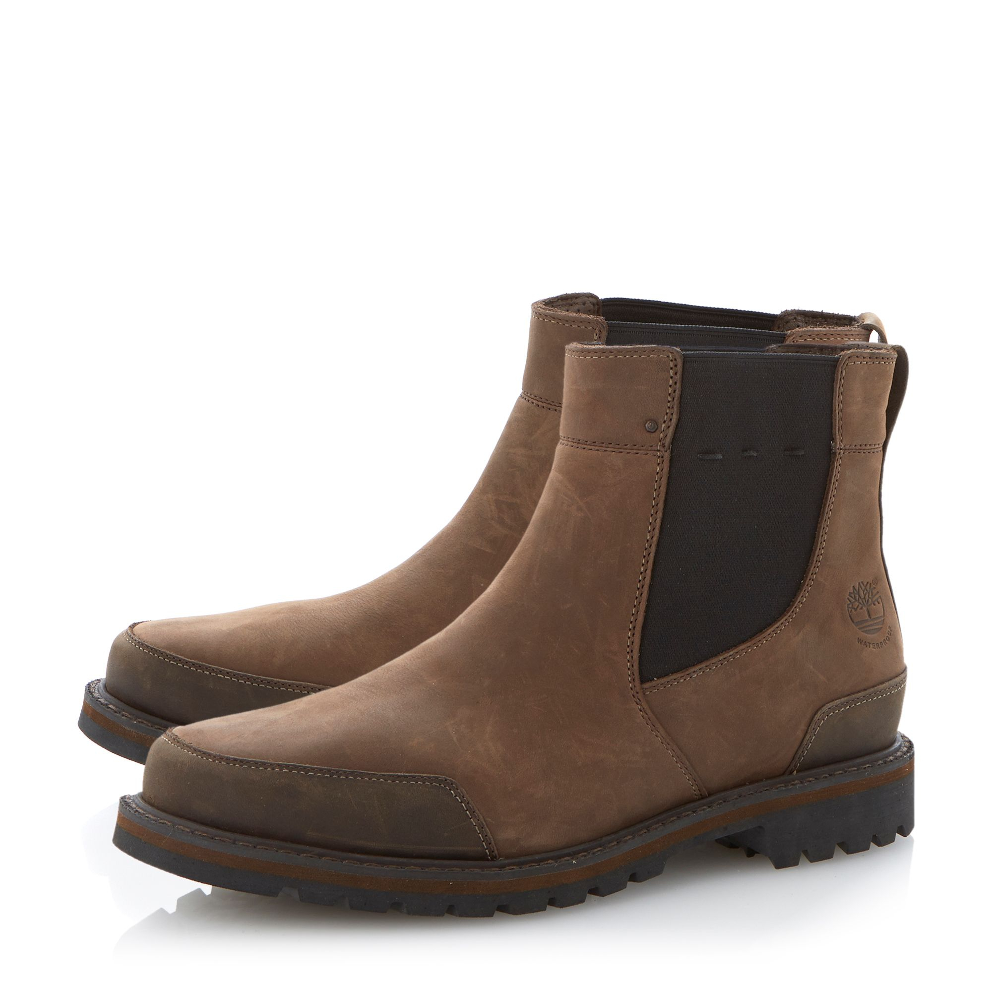 timberland 5539a elasticated chelsea boots in brown for