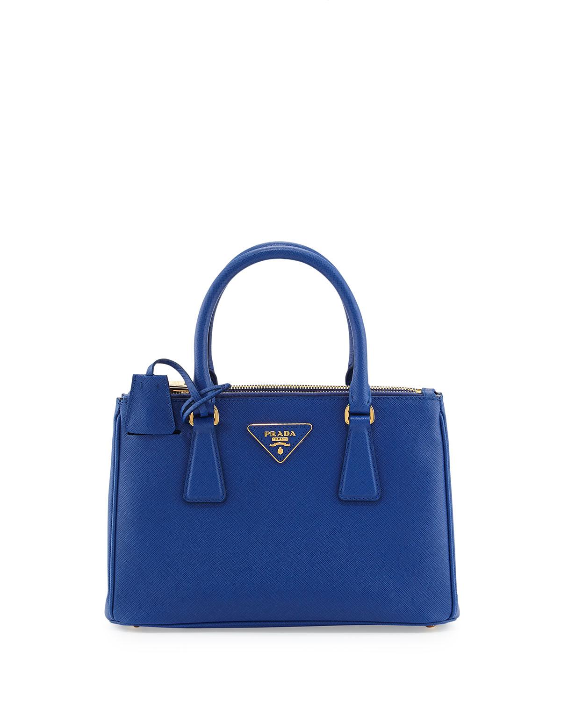 Prada Saffiano Doublezip Mini Crossbody Bag in Blue (ROYAL BLUE)