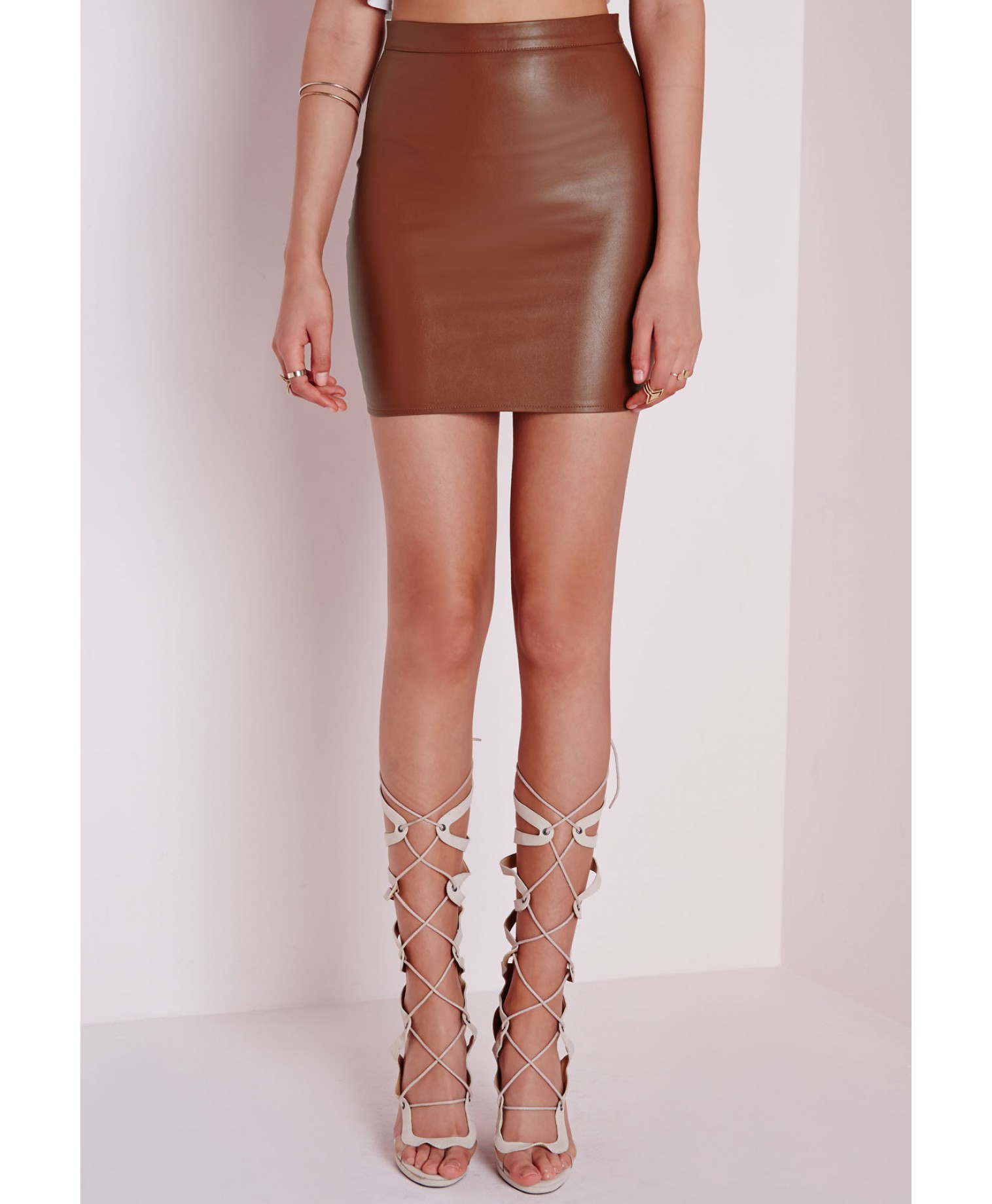 Missguided Faux Leather Mini Skirt Tan in Brown | Lyst