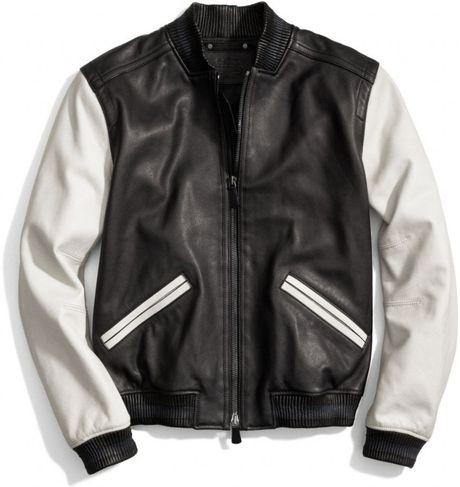 f83794812b Coach Leather Baseball Jacket in Blue for Men (NAVY/STRIPE) | Lyst