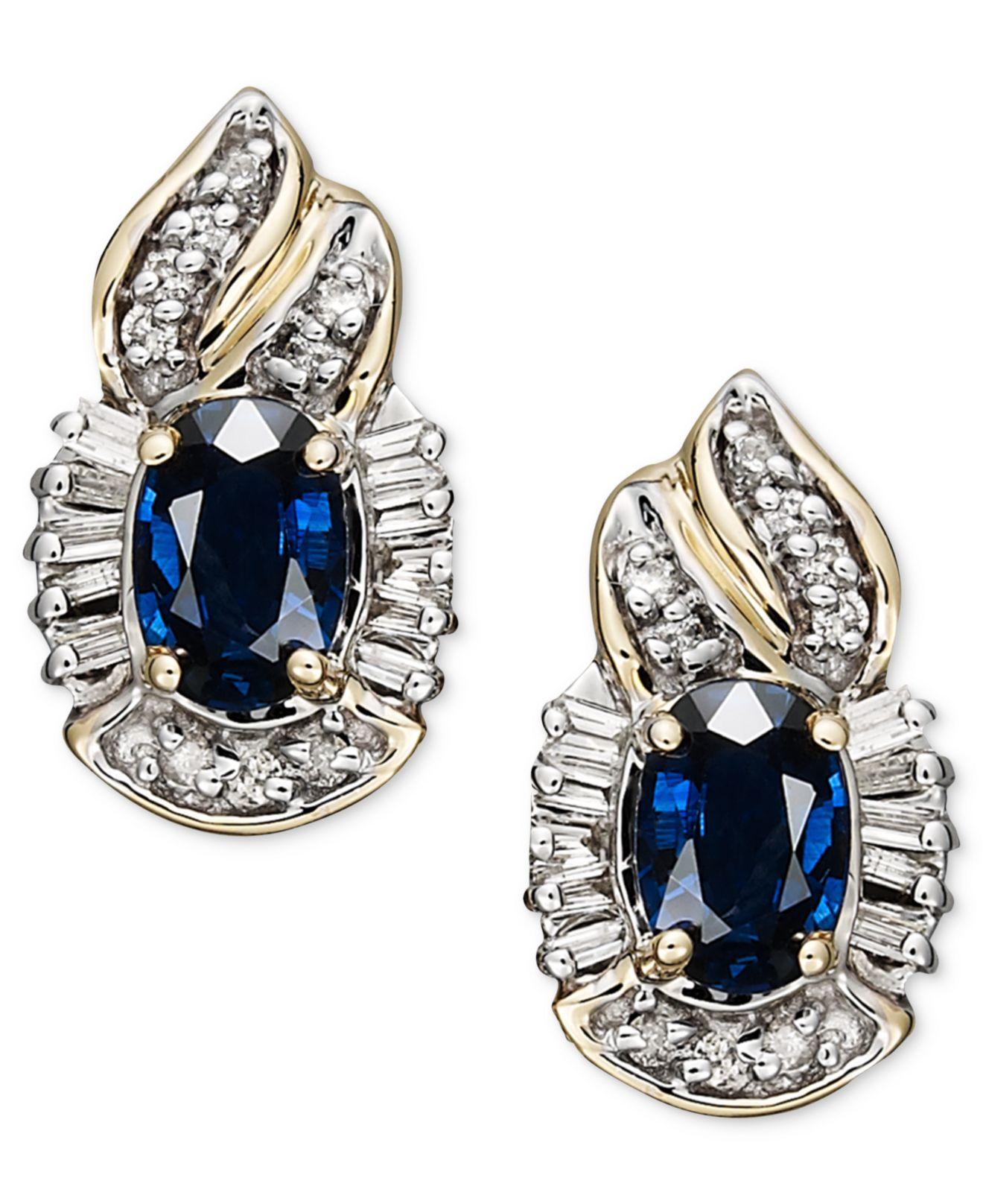 Macy S 14k Gold Earrings Sapphire 1 3 8 Ct T W And Diamond