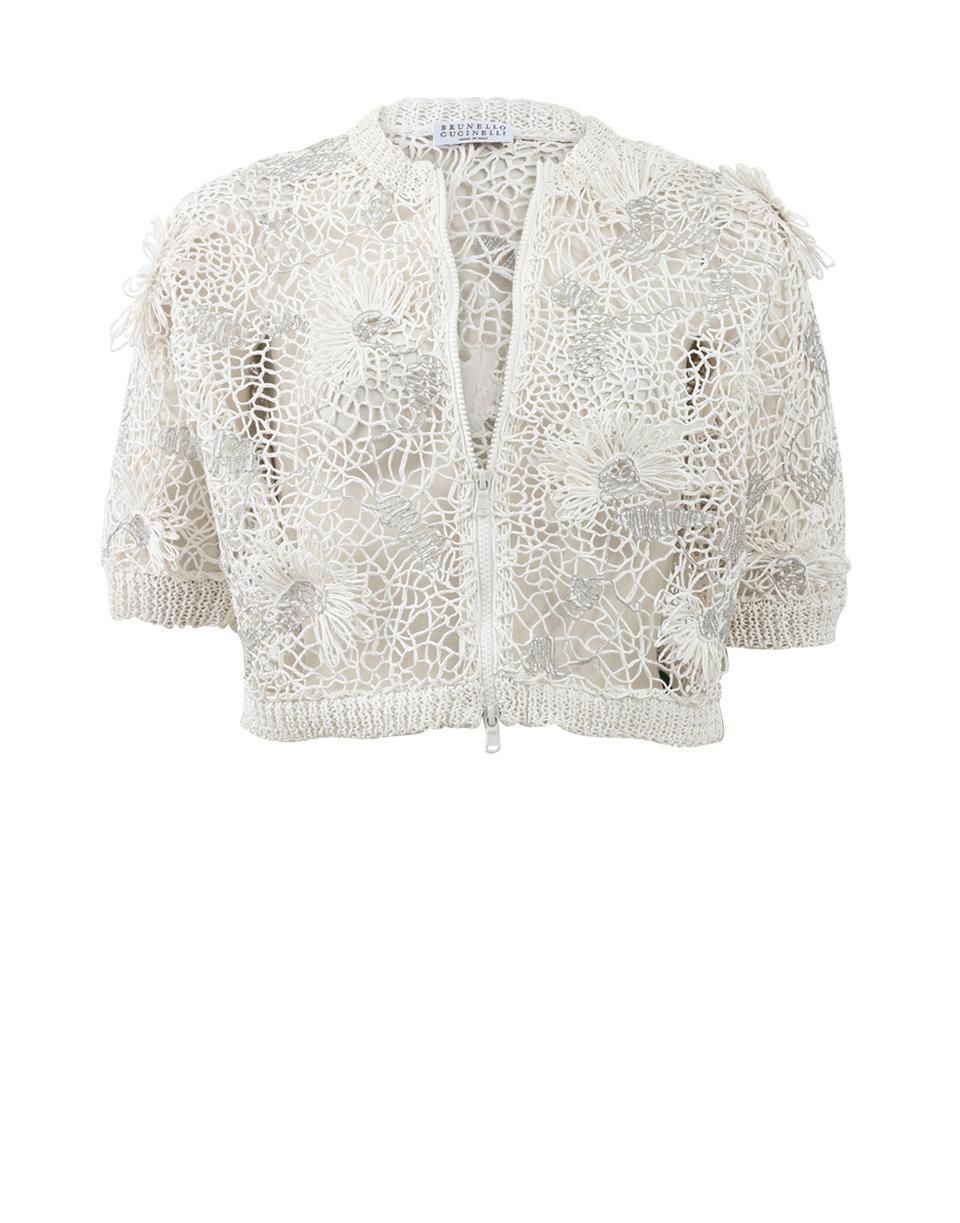 Brunello cucinelli Cropped Monili Embroidered Cardigan in White | Lyst