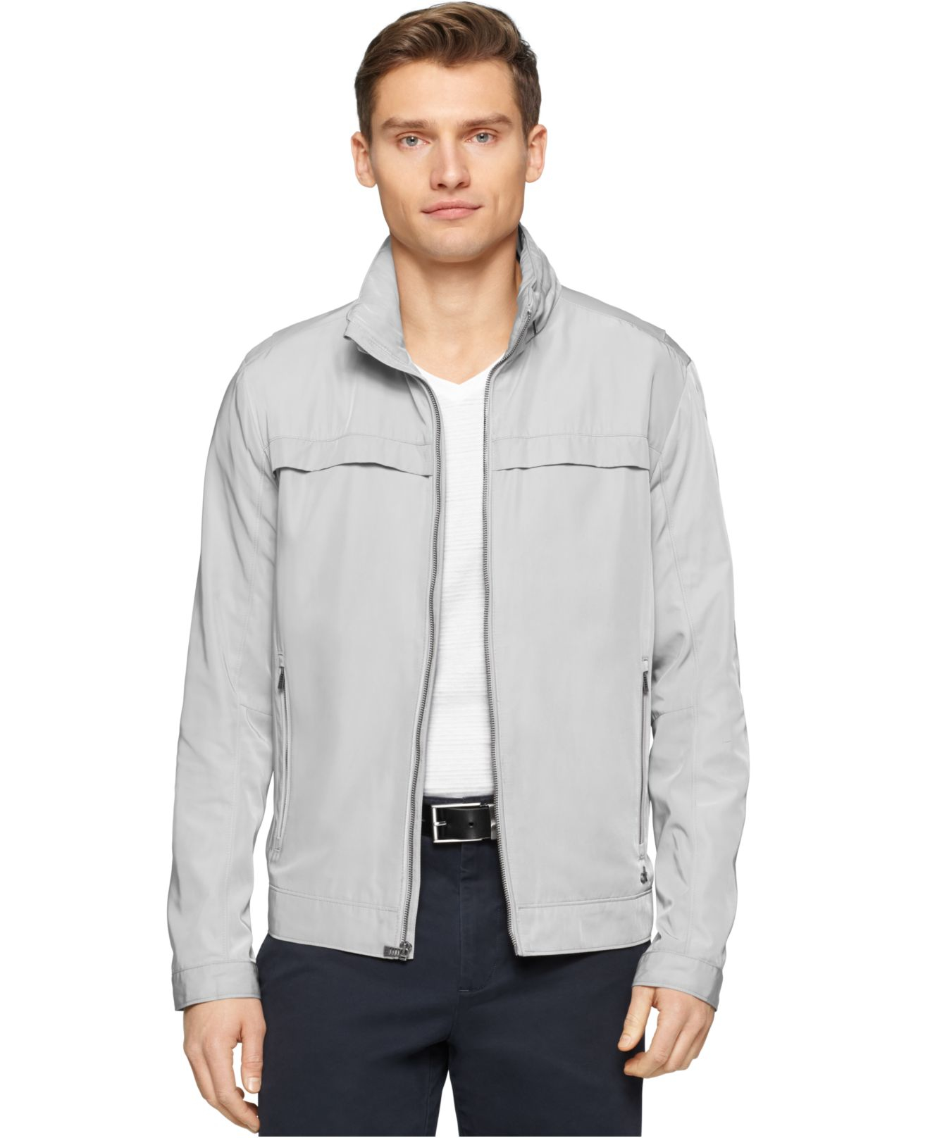 Calvin klein Core Lightweight Nylon Jacket in Gray for Men | Lyst