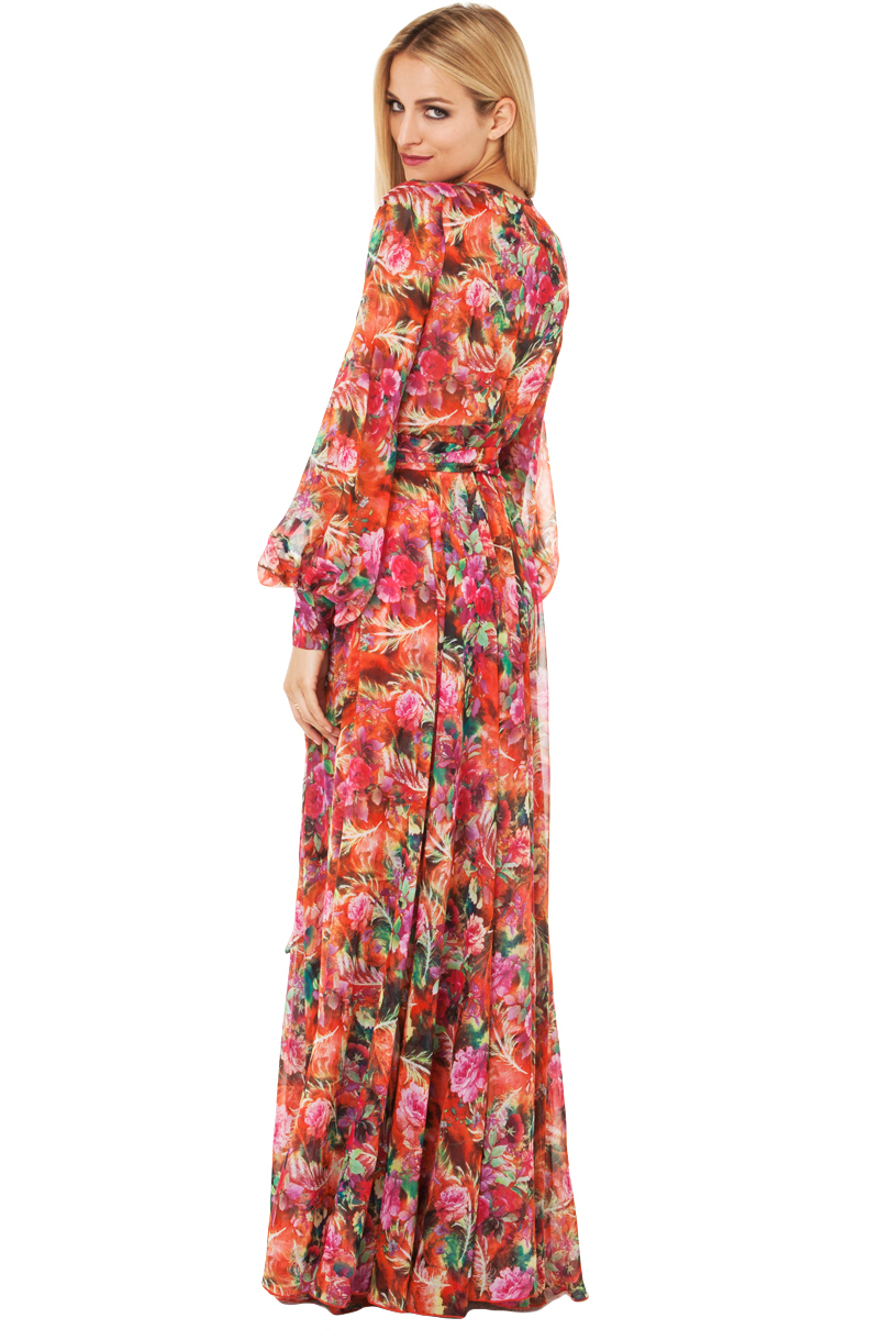 f4719633800 Akira Black Label Tropical Print Flowy Maxi Dress In Red Rose in Red ...