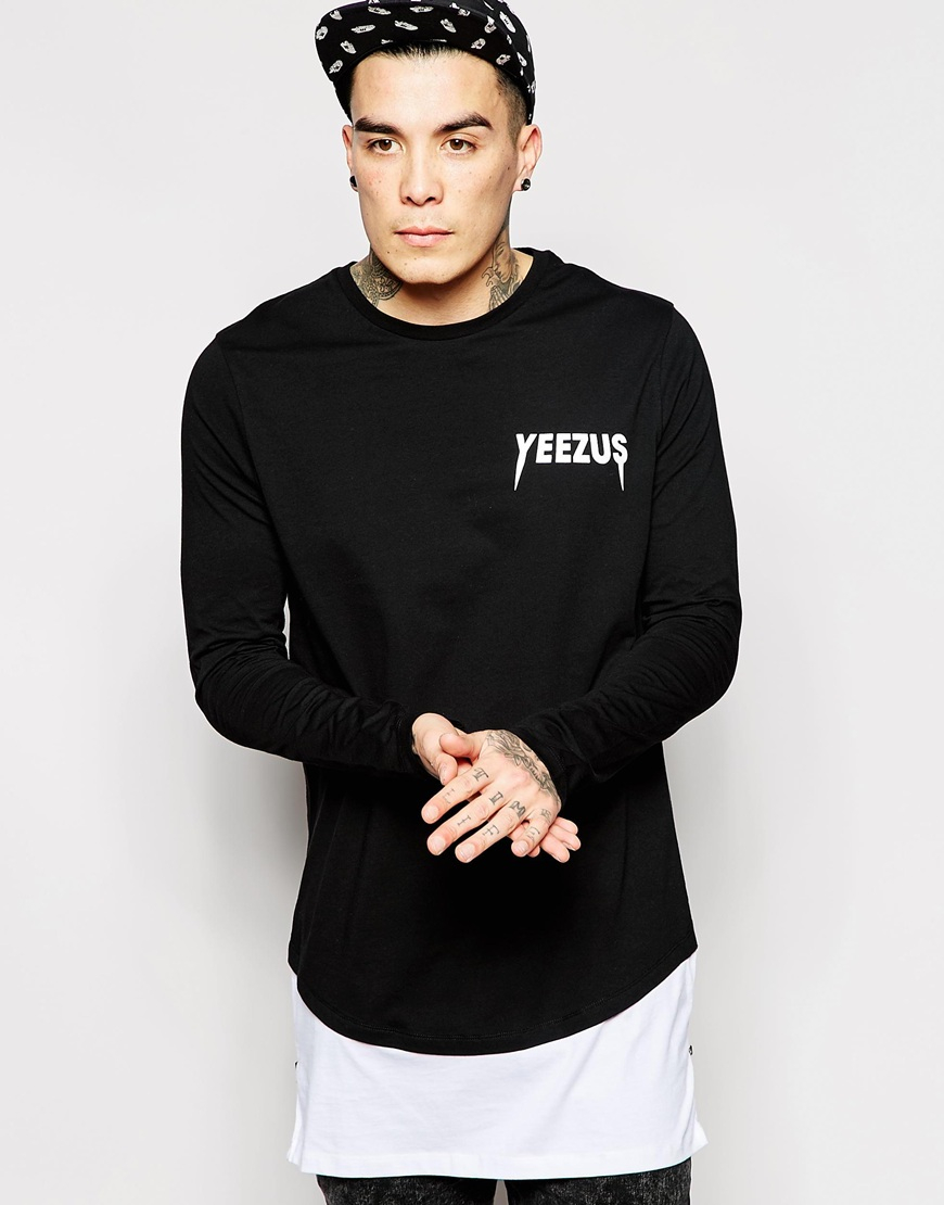 Asos Super Longline Long Sleeve T-shirt With Yeezus Print And Side ...
