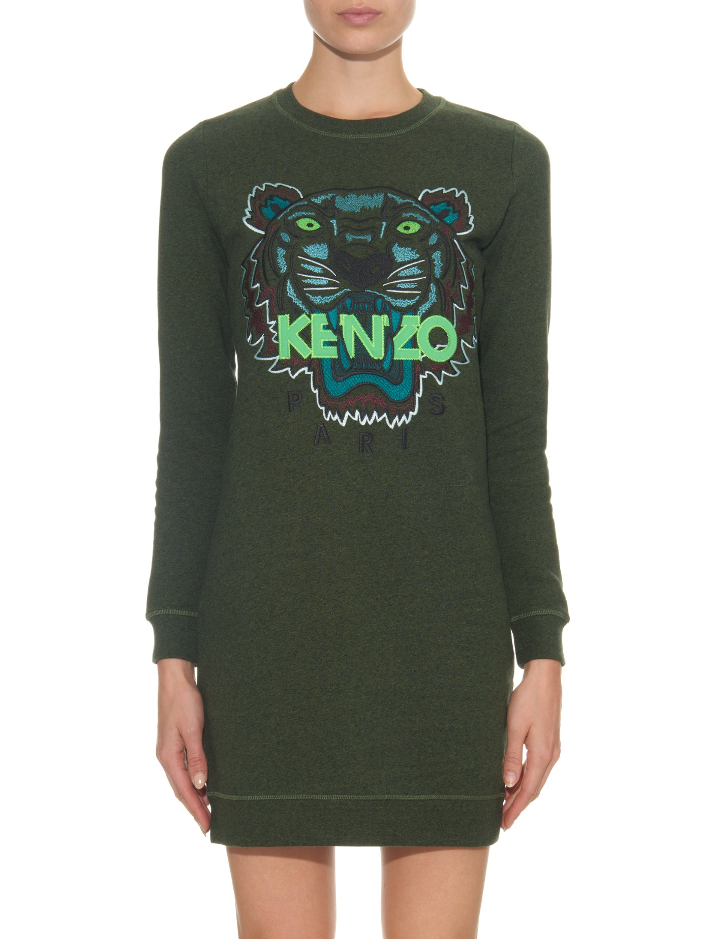 2c8a60ca Lyst Embroidered Dress Tiger Green Kenzo Icons In Sweater rtxhQCsd