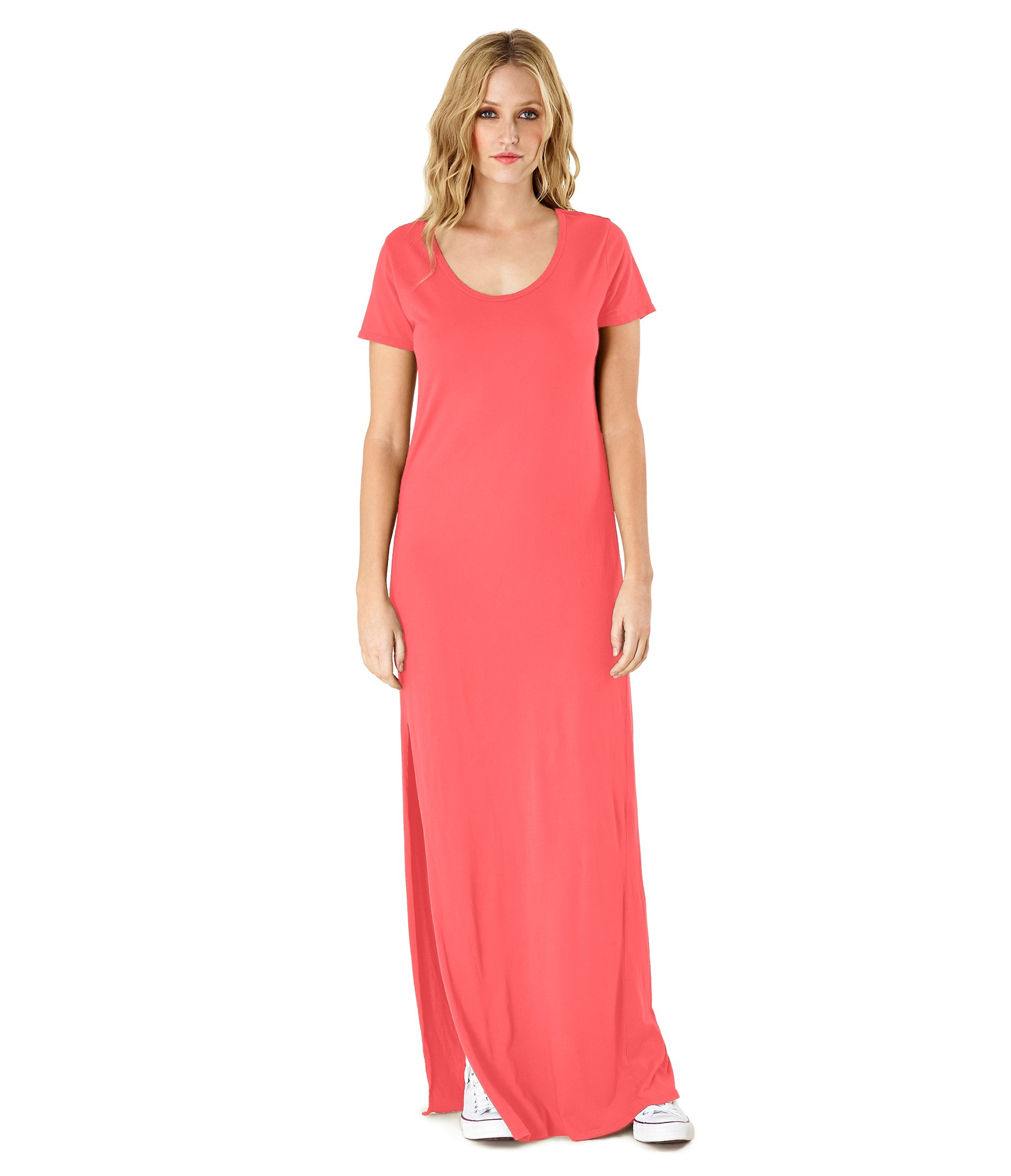 Michael stars t shirt maxi dress with side slit in orange for Michael stars t shirts on sale