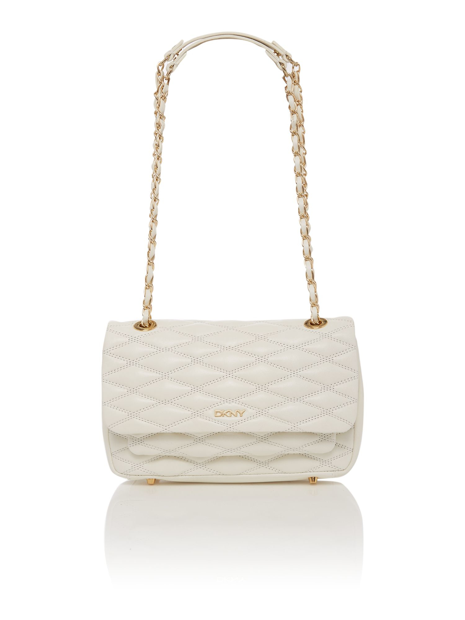 Dkny Quilted White Tan Flap Over Shoulder Bag in White | Lyst
