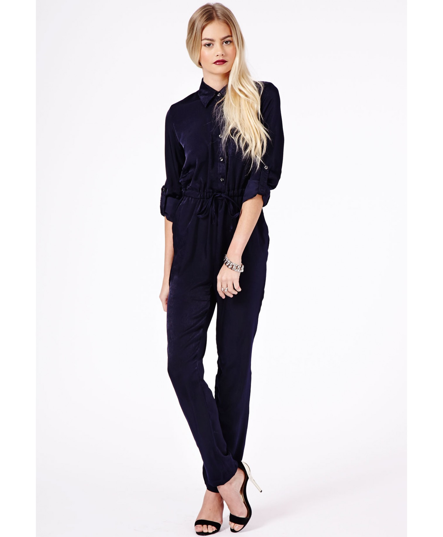 a02b2d3a936 Missguided Aleida Silk Feel Shirt Jumpsuit in Navy in Blue - Lyst
