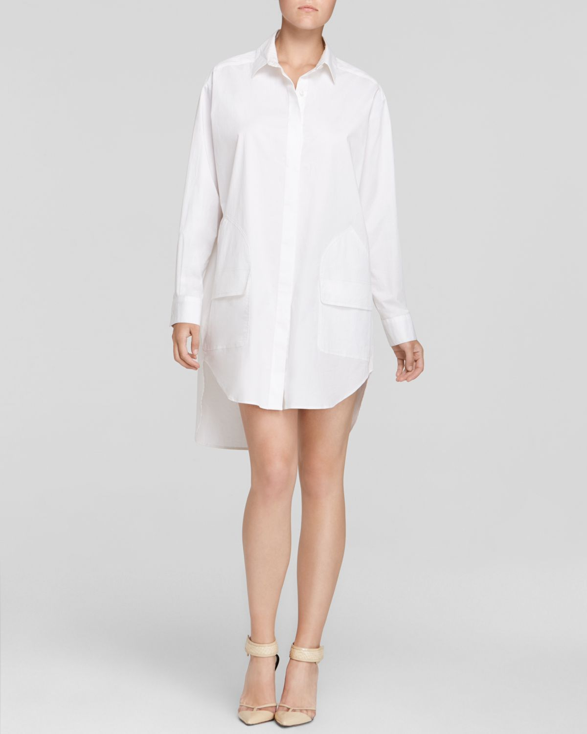 2f4be66f656 DKNY Tunic Shirt Dress in White - Lyst
