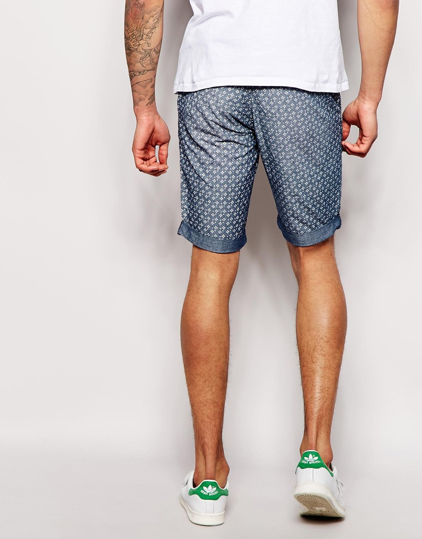 Lyst Blend Chinos Shorts Slim Fit Washed All Over Pattern Print In Tendencies Navy Short 32 Gallery