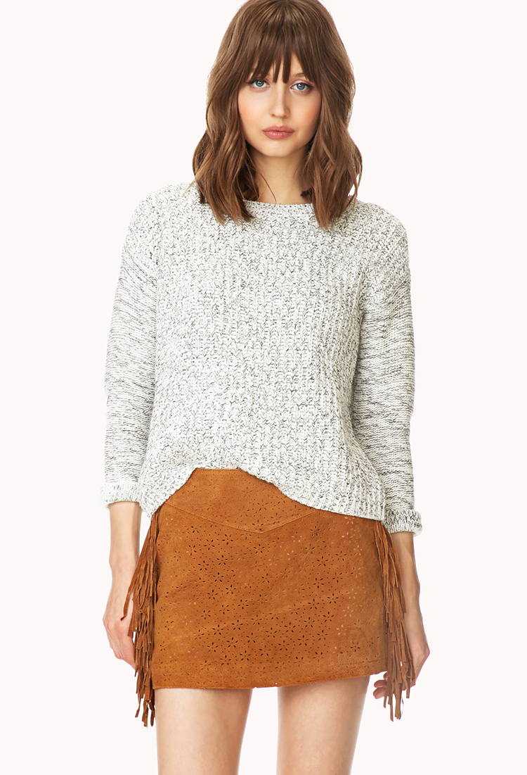 Forever 21 Perforated Suede Skirt in Brown | Lyst