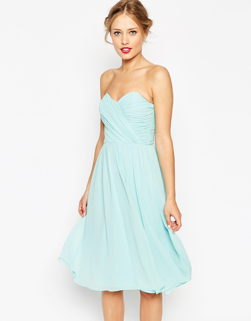 asos wedding dress asos wedding chiffon bandeau midi dress in blue lyst 1393
