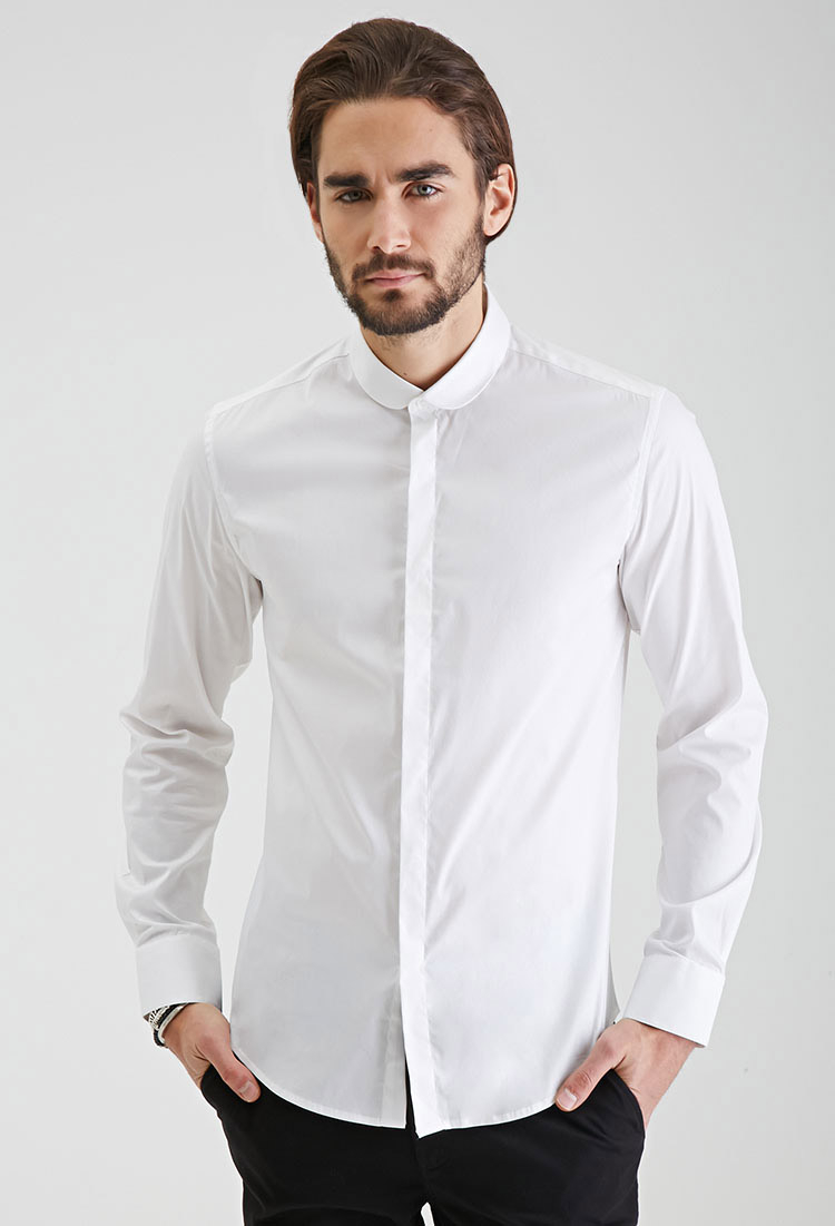 Lyst forever 21 round collar button down shirt in white for Mens button collar shirts