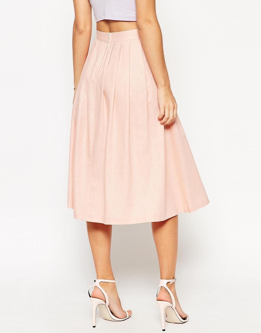 Asos Pleated Midi Linen Skirt in Natural | Lyst