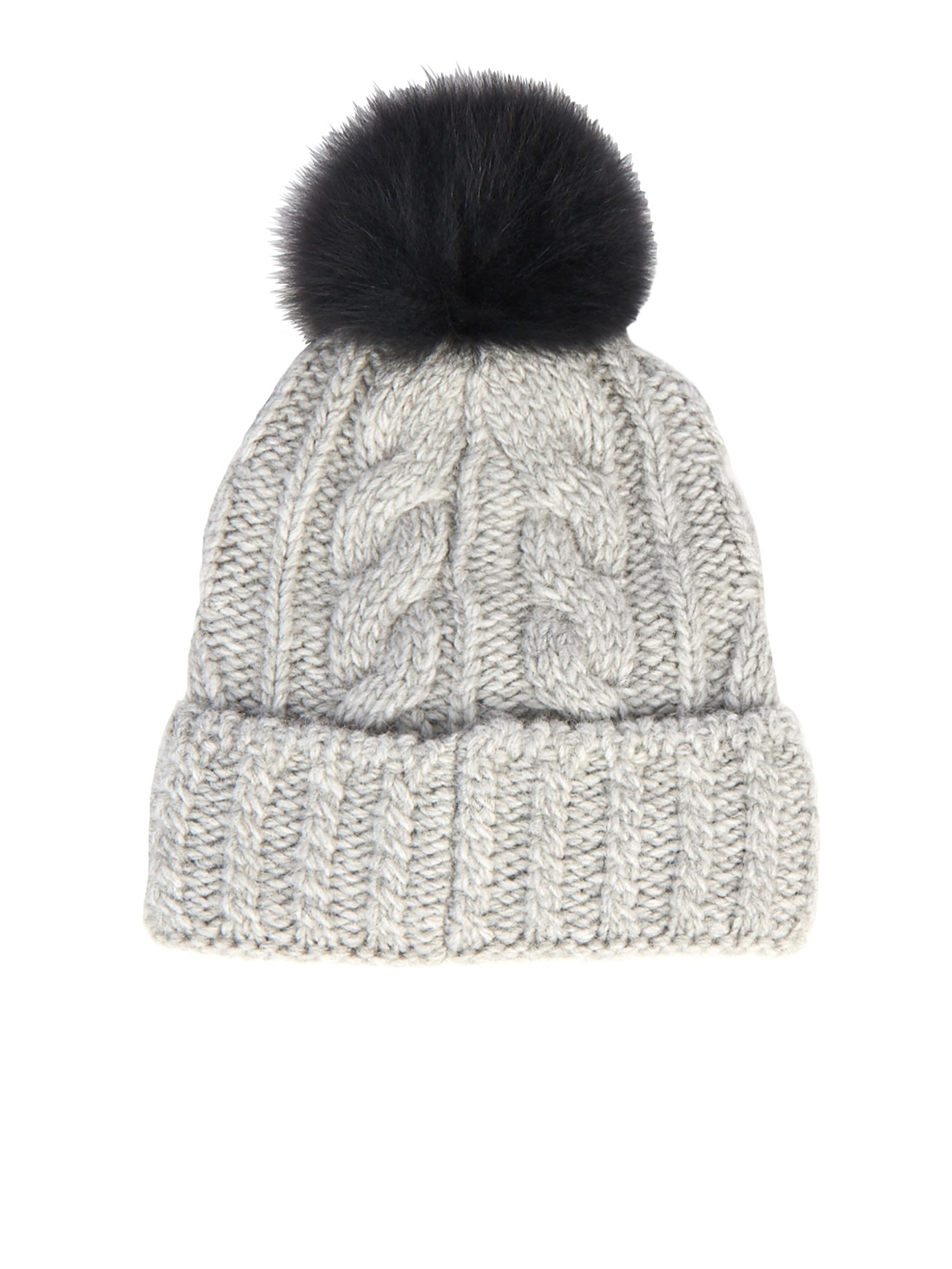 Lyst - Moncler Grenoble Cable Knit Pompom Beanie in Gray 3fe74c97cd3e