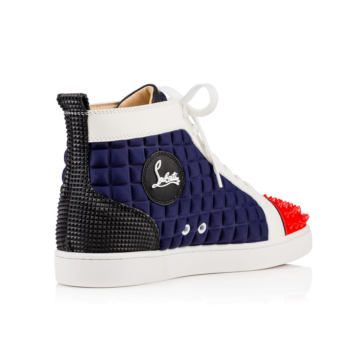 6fd5e433d0f8 canada lyst christian louboutin lou spikes neoprene high top sneakers in  blue for men 1d53d 5c997